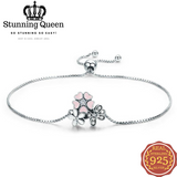 Cherry Daisy Flower Chain Link Bracelet in 925 Sterling Silver|StunningQueen.com