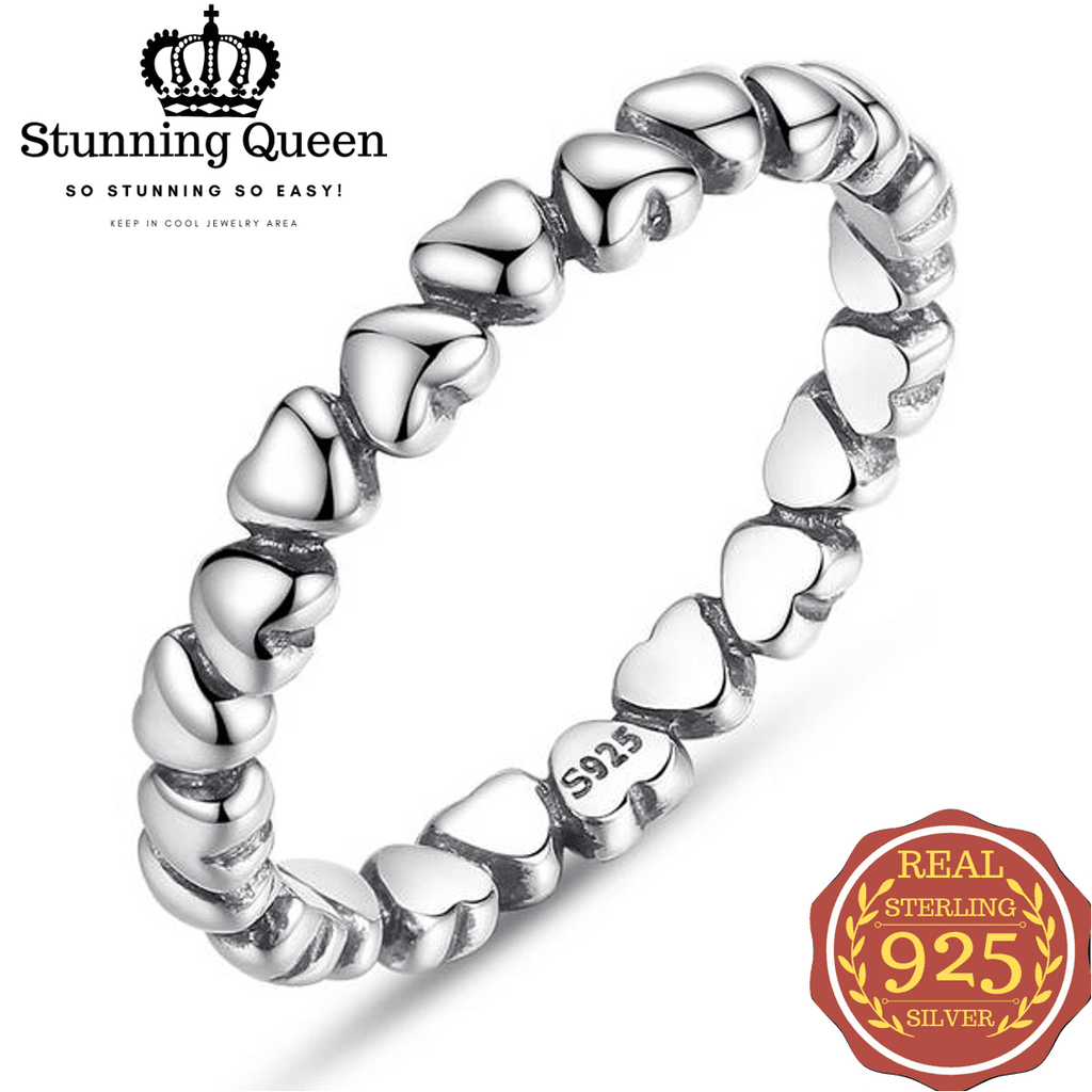 Circularity Simple Playful Heart Ring in 925 Sterling Silver|StunningQueen.com