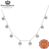 Classic Dazzling Round Pendant Necklace in 925 Sterling Silver|StunningQueen.com
