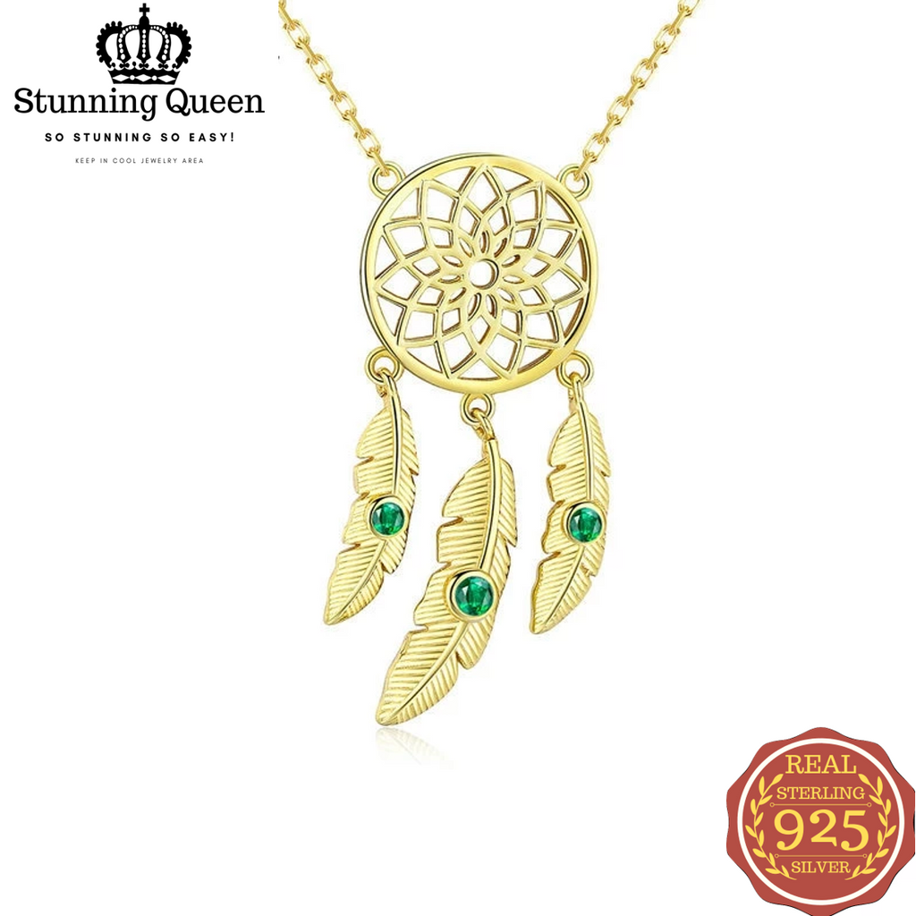 Dream Catcher Pendants Necklace in 925 Sterling Silver|StunningQueen.com