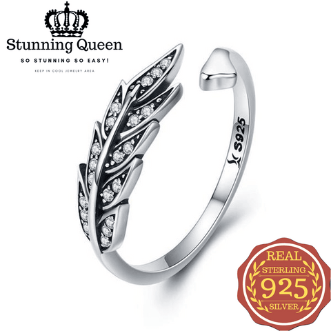 Stunning Queen Feather Wings Adjustable Ring in 925 Sterling Silver|Wedding Rings|Engagement Rings|StunningQueen.com