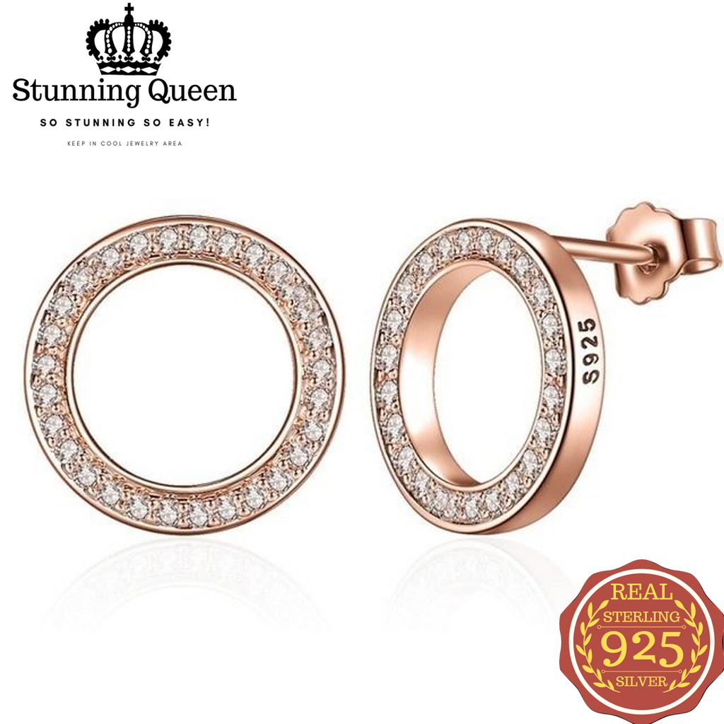 Forever Love Round Stud Earring in 925 Sterling Silver|StunningQueen.com