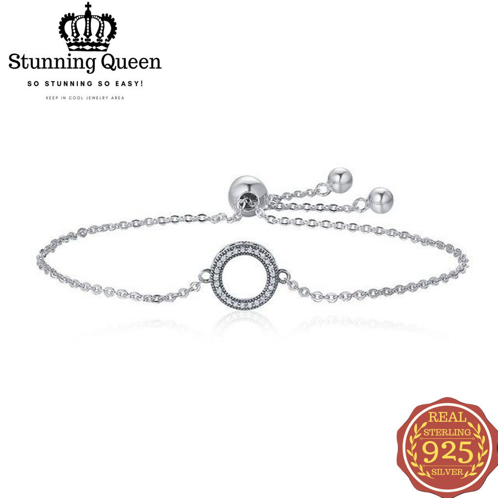 Glittering Round Circle Chain Link Strand Bracelet in 925 Sterling Silver|StunningQueen.com