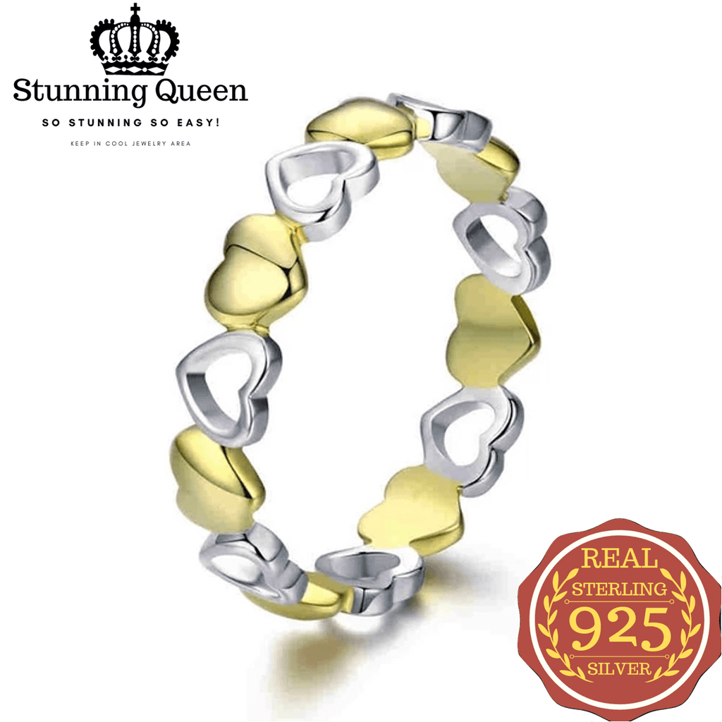 Gold Heart Engraved love Ring in 925 Sterling Silver|StunningQueen.com