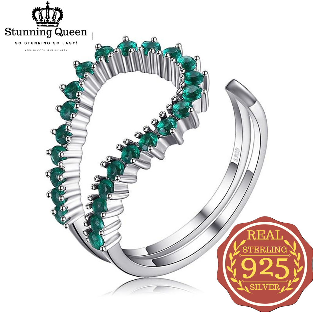 Green Nano Emerald Geometric Gemstones Ring in 925 Sterling Silver|StunningQueen.com