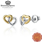Heart to Heart Small Stud Earring in 925 Sterling Silver|StunningQueen.com