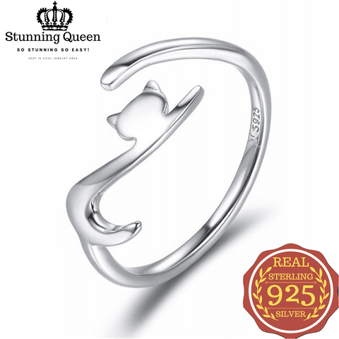 Stunning Queen Long Tail Cat Adjustable Ring in 925 Sterling Silver|Wedding Rings|Engagement Rings|StunningQueen.com