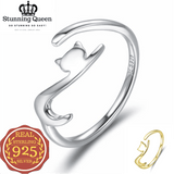 Long Tail Cat Adjustable Ring in 925 Sterling Silver|StunningQueen.com