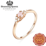 Luxury Pink Crystal Ring in 925 Sterling Silver|StunningQueen.com