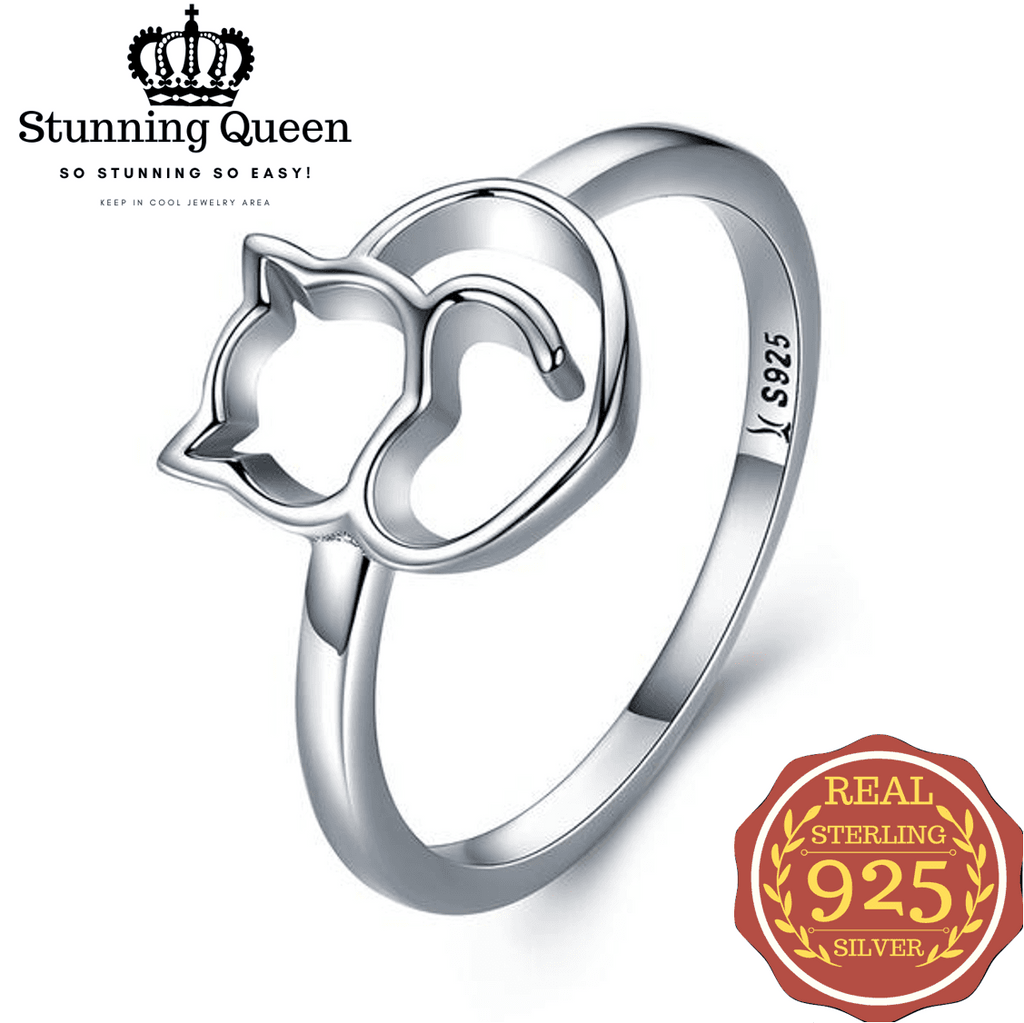 Stunning Queen Naughty Little Sweet Heart Cat Ring in 925 Sterling Silver|Wedding Rings|Engagement Rings|StunningQueen.com