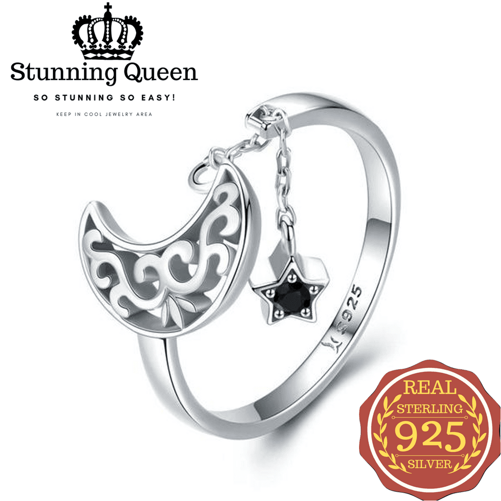 New Moon & Star Pendant Adjustable Ring in 925 Sterling Silver|StunningQueen.com