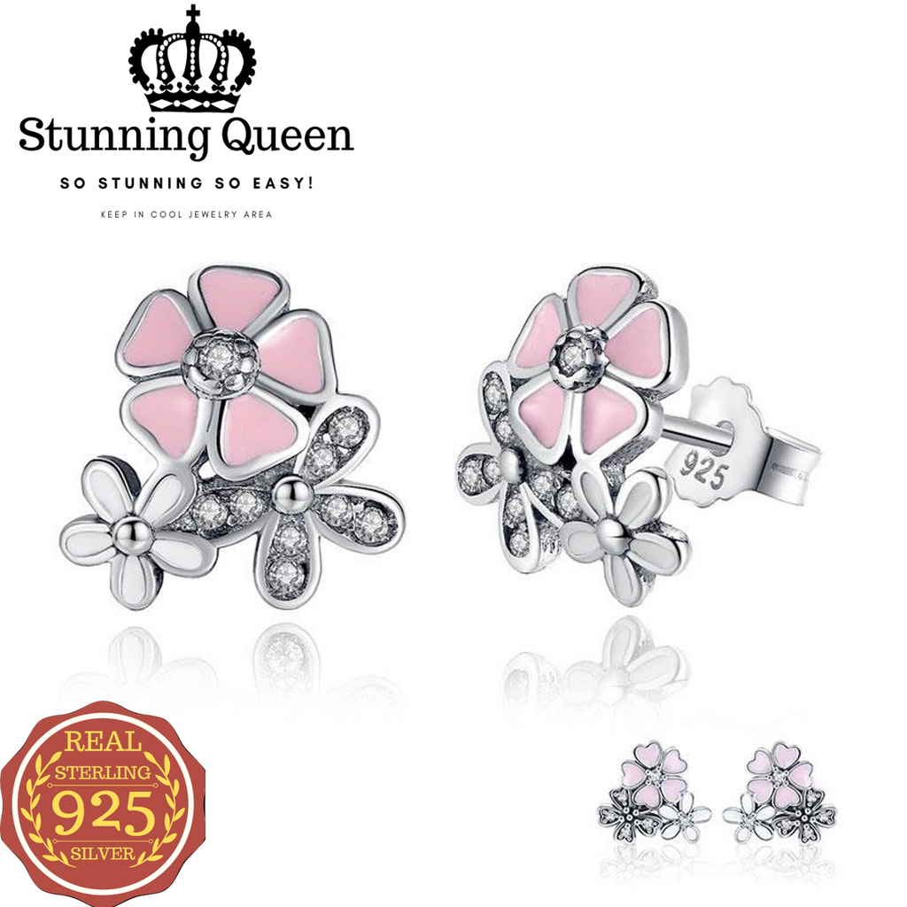 Poetic Daisy Cherry Heart Pink Flower Earring in 925 Sterling Silver|StunningQueen.com