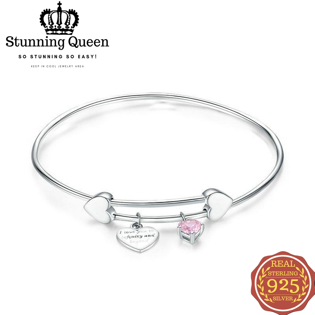 Romantic I Love You Love Heart Female Bangle in 925 Sterling Silver|StunningQueen.com