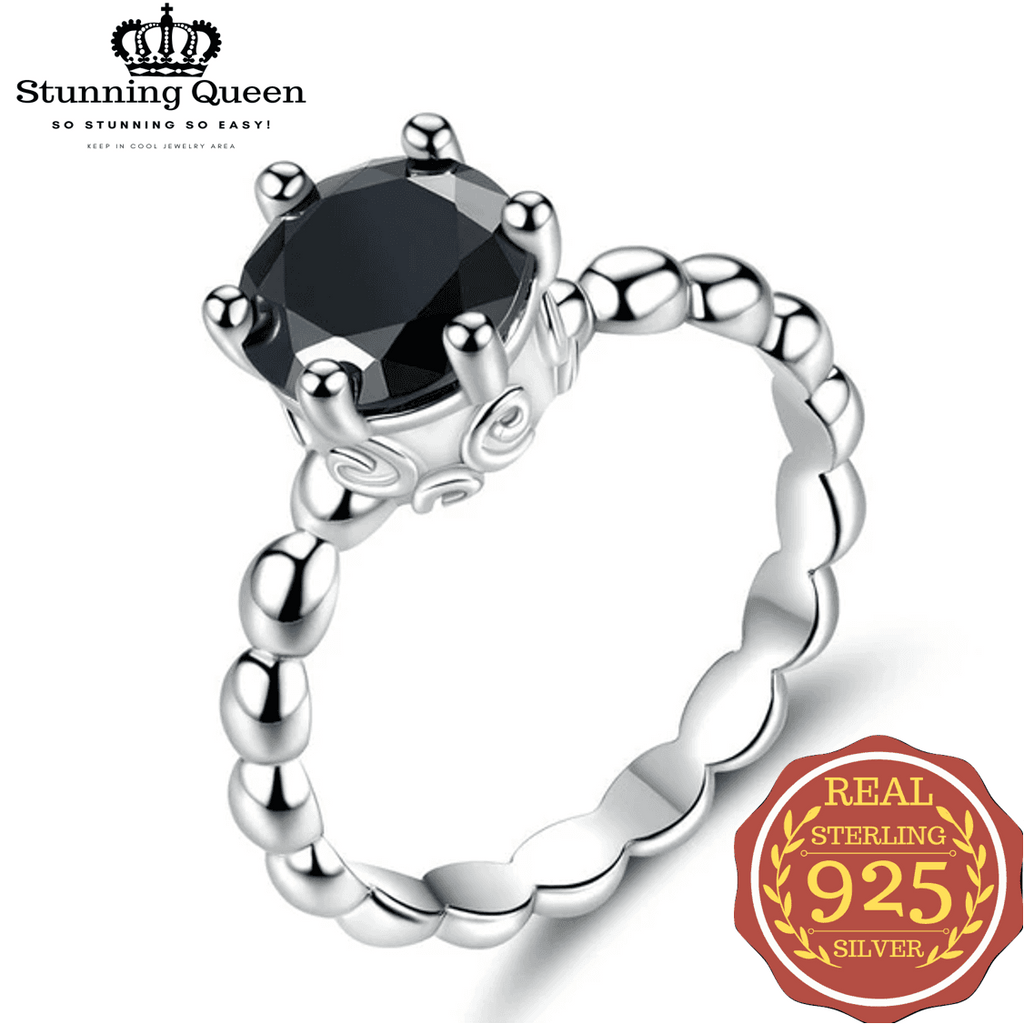 Silver Color with Black Gemstones Crown Ring in 925 Sterling Silver|StunningQueen.com
