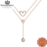 Double Layers Love Heart Chain Pendant Necklace in 925 Sterling Silver|StunningQueen.com