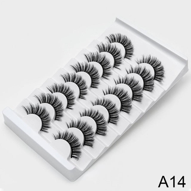8 Pairs 3D Faux Mink Natural Dramatic Volume Silk Eyelashes|StunningQueen.com
