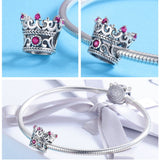 Trendy Queen's Crown Charm Beads Bracelet & Bangle in 925 Sterling Silver|StunningQueen.com