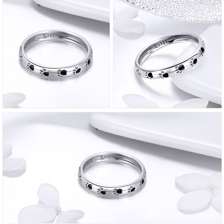 Stunning Queen Cats Footprints Ring in 925 Sterling Silver|Wedding Rings|Engagement Rings|StunningQueen.com