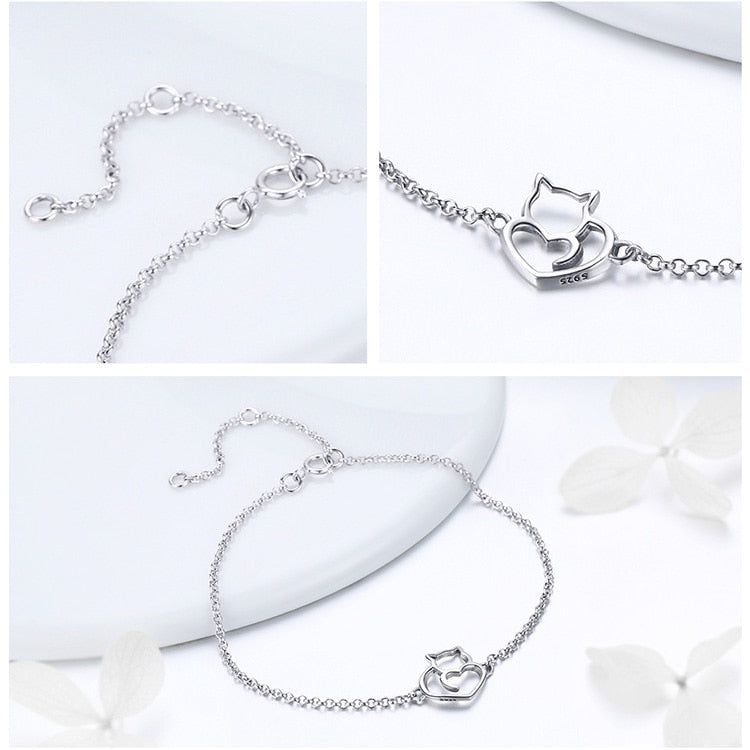 Cat And Heart Link Chain Bangle & Bracelet in 925 Sterling Silver|StunningQueen.com