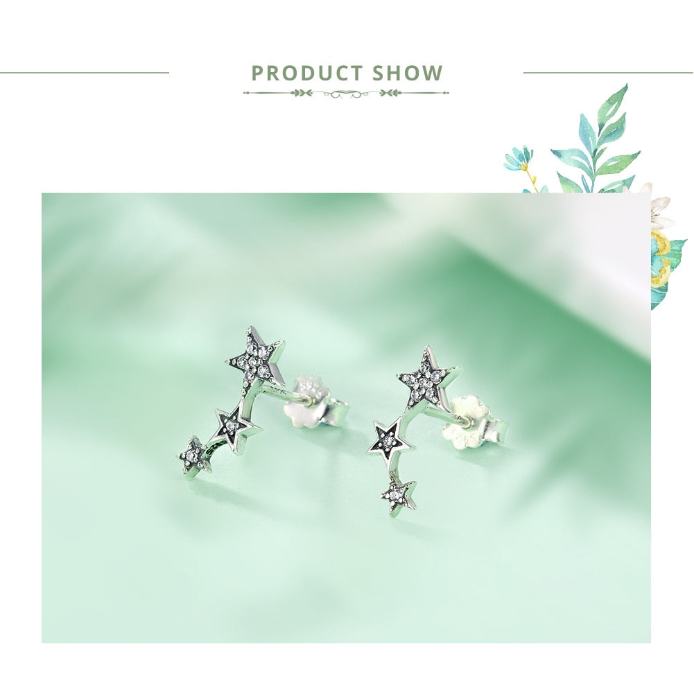 Exquisite Star Earring in 925 Sterling Silver|StunningQueen.com