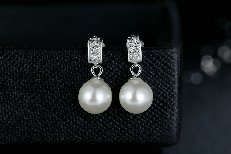 Simulated Pearls Drop Earring in 925 Sterling Silver|StunningQueen.com
