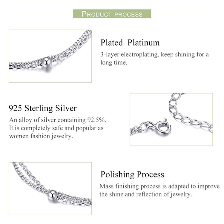 Round Beads Double Layers Link Chain Bracelet in 925 Sterling Silver|StunningQueen.com