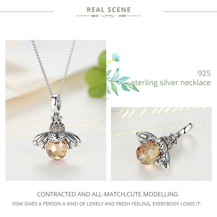 Lovely Orange Bee Pendants Necklace in 925 Sterling Silver|StunningQueen.com
