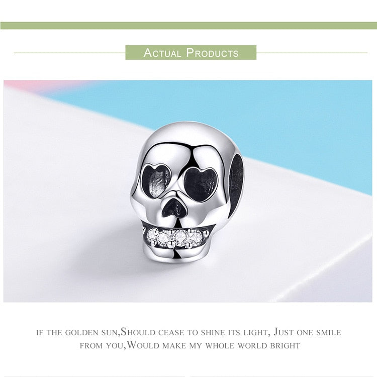 Halloween Gift Skull Head Beads Charm Charm Bracelet in 925 Sterling Silver|StunningQueen.com