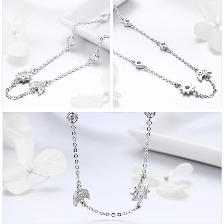 Sparkling Moon and Star Exquisite Pendant Necklace in 925 Sterling Silver|StunningQueen.com