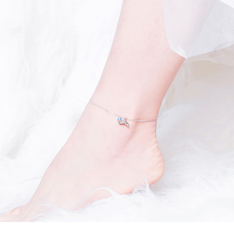 Blue Color Ocean Mermaid Tail Link Leg Chain Anklet in 925 Sterling Silver|StunningQueen.com