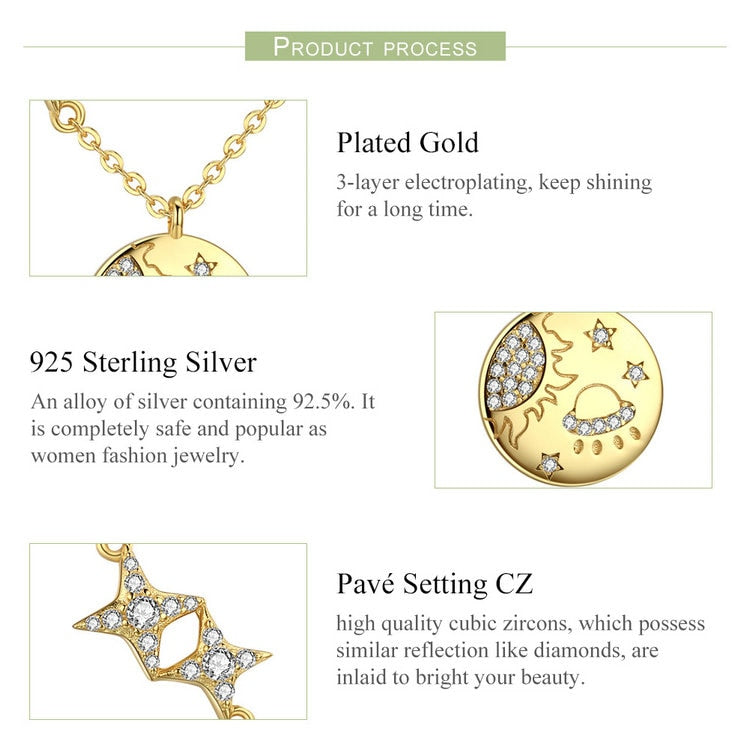 Galaxy Gold Color Pendant Necklace in 925 Sterling Silver|StunningQueen.com