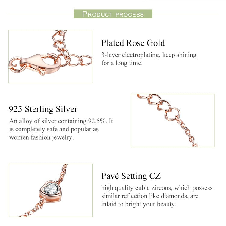 Classic Heart Rose Gold Color Chain Lobster Clasp Bracelet in 925 Sterling Silver|StunningQueen.com