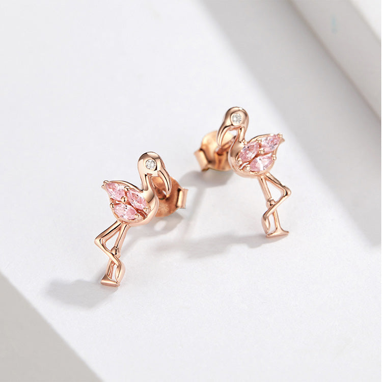 Summer Flamingos Stud Earring in 925 Sterling Silver|StunningQueen.com