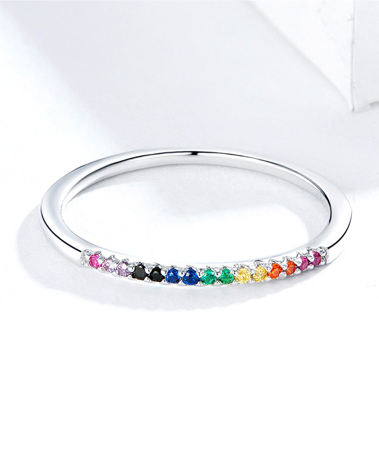 Stunning Queen Shining Rainbow Ring in 925 Sterling Silver|Wedding Rings|Engagement Rings|StunningQueen.com