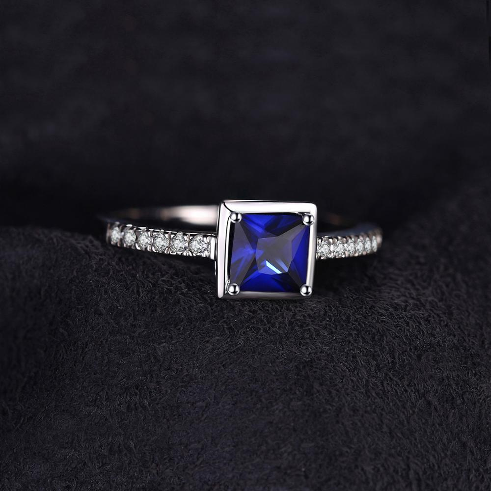 Blue Sapphire Square Gemstones Ring in 925 Sterling Silver|StunningQueen.com