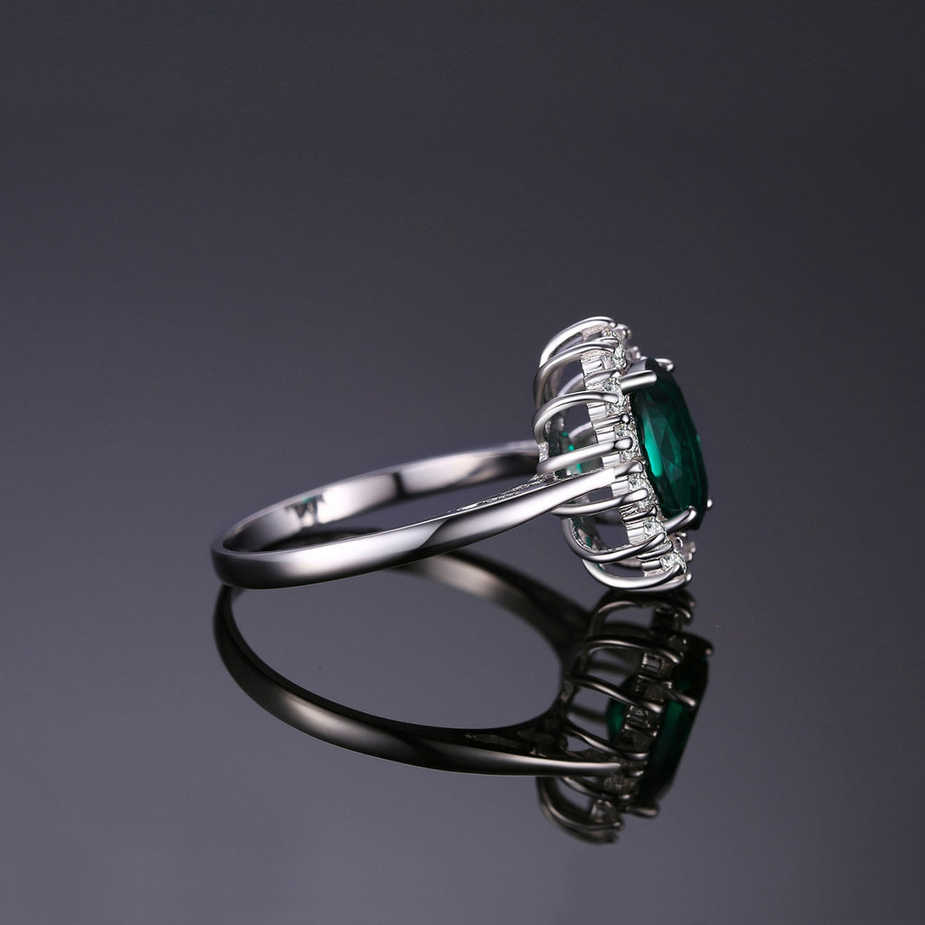 Green Emerald Princess Gemstones Ring in 925 Sterling Silver|StunningQueen.com