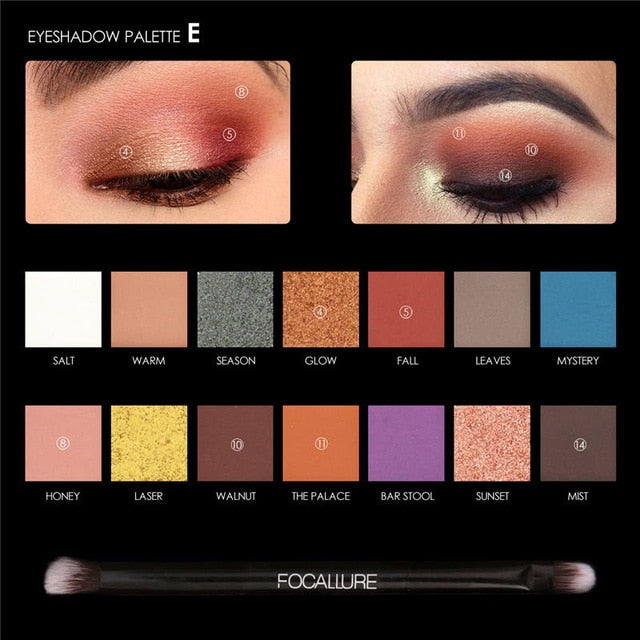14 Colors Makeup Glitter Matte Eye Shadow Palette|StunningQueen.com