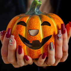 Halloween citrouille vernis rouge nail art