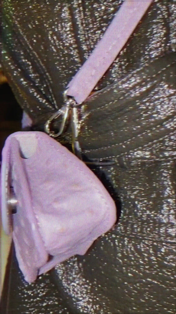 Load and play video in Gallery viewer, Lilac ostrich mini bag, cow leather, Amorsito mini bag multifunctional, Blame Lilac