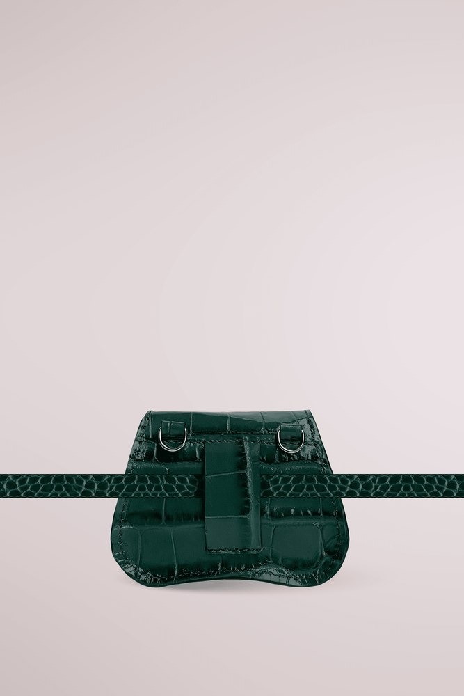Load image into Gallery viewer, forest green mini bag, croc embossed leather, Amorsito mini bag, Blame Lilac