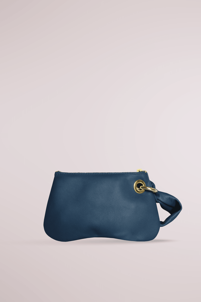 Navy inverted heart shape mini pochette, by Blame Lilac