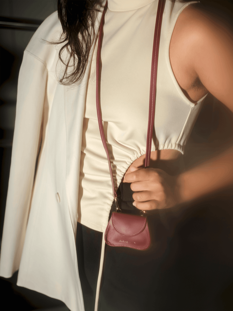 Load image into Gallery viewer, burgundy mini bag with off-white stitching, multifunctional, cow leather, Amorsito mini bag, Blame Lilac, discount sale