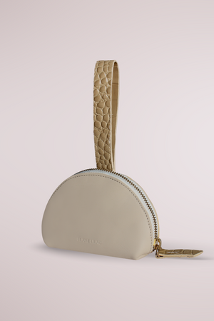 Load image into Gallery viewer, ecru and croc sand manica purse, cow leather, coin and card purse, Blame Lilac