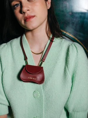 Load image into Gallery viewer, burgundy mini bag with off-white stitching, multifunctional, bag and necklace,, cow leather, Amorsito mini bag, Blame Lilac, discount sale