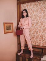 Cesta bag burgundy in Blame Lilac photo shoot campaign