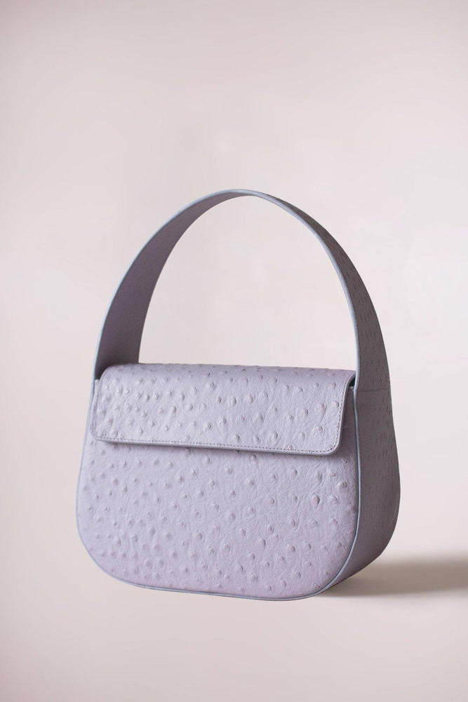 ostrich lilac handbag cesta, ostrich embossed cow leather, removable long strap, Blame Lilac