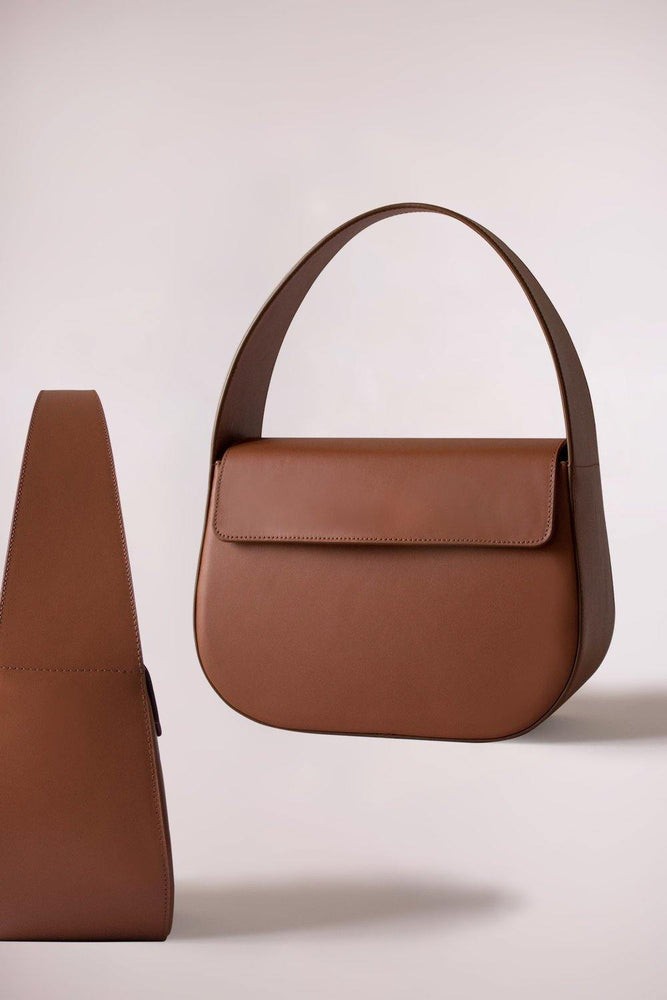 tan cesta handbag, cow leather, removable long strap, Blame Lilac