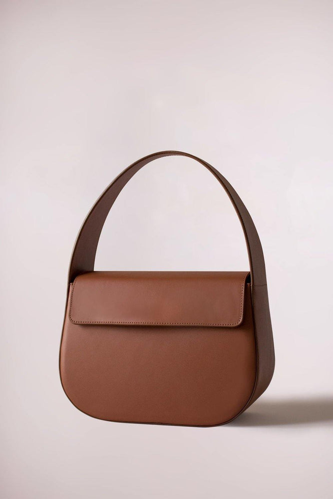 Load image into Gallery viewer, tan cesta handbag, cow leather, removable long strap, Blame Lilac