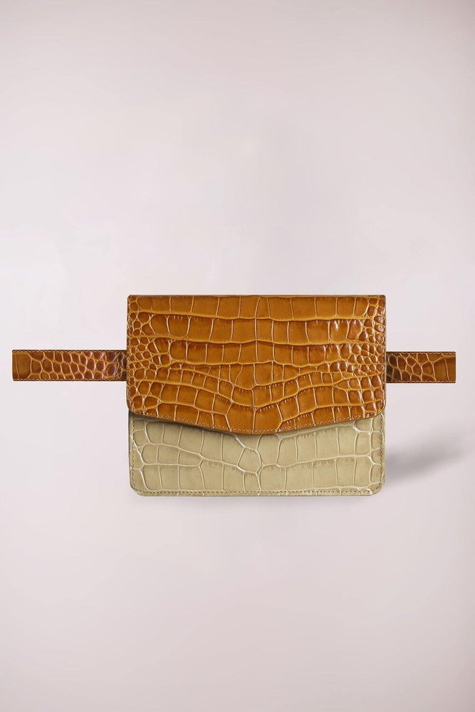fanny pack, belt bag bicolor croco cognac and sand, natural color, croc embossed, multi functional bag, shoulder bag with an inner pocket, Blame lilac