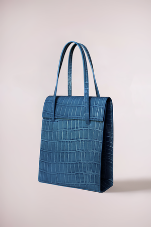 Load image into Gallery viewer, croc petrol leather handbag, cow leather, frita bag, Blame Lilac